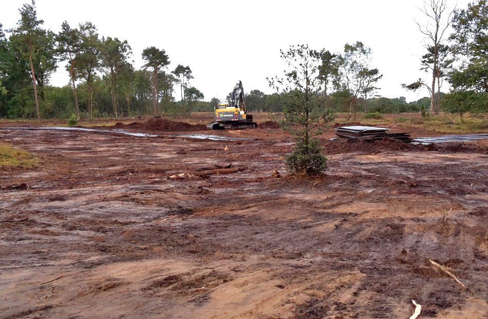 Verwijderen van strooisellaag uit voormalig bosperceel voor omvorming bos naar heide