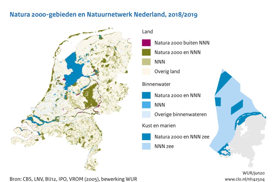 Natura 2000-gebieden en Natuurnetwerk Nederland (2018-2019)