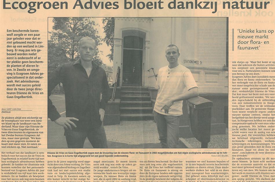 Krantenartikel 2006; in de afgelopen 10 jaar is er veel gebeurd