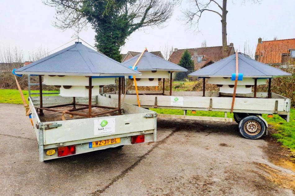 De tillen zijn 2 meter breed en voorzien van enkele kunstnestkommen om de vestiging in de eerste jaren makkelijker te maken. De constructie bootst een dakoverstek na en voorkomt regeninslag.