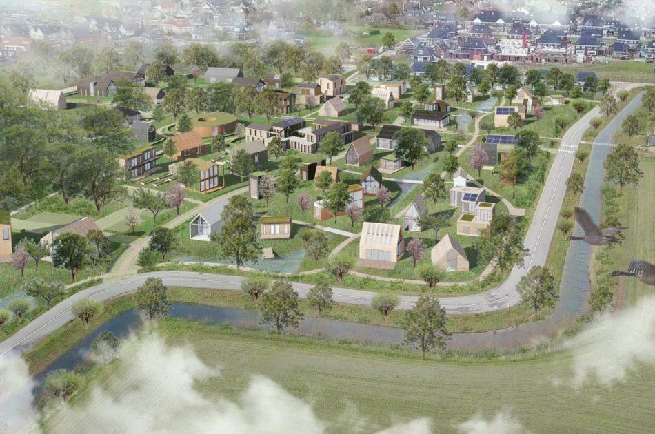 Vogelvluchtimpressie van de toekomstige wijk Olstergaard.